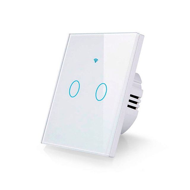 Interruptor pared tactil WiFi RF 433Mhz EU 2 salidas Tuya Smart