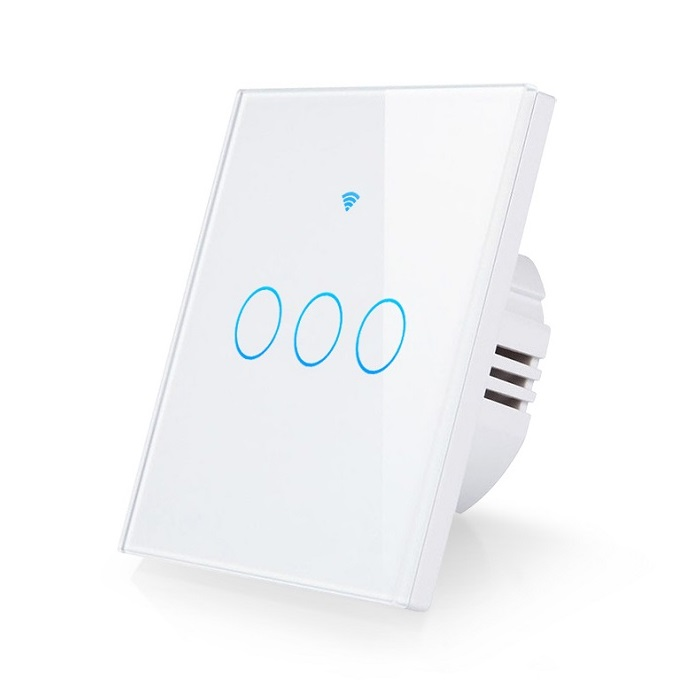 Interruptor pared tactil WiFi RF 433Mhz EU 3 salidas Tuya Smart