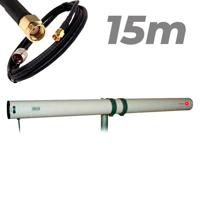 Antena WiFi Yagi Exterior 21dBi Pigtail RP SMA 15 metros Largo alcance