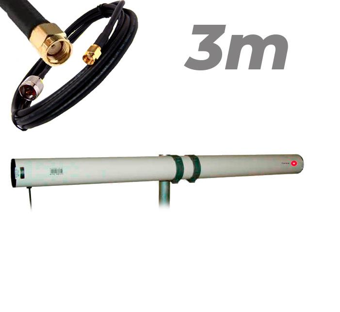 Antena WiFi Yagi Exterior 21dBi Pigtail RP SMA 3 metros Largo alcance