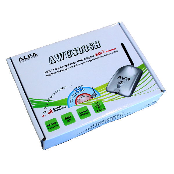 ALFA AWUS036H 2dBi Antena WiFi USB para PC reacondicionada