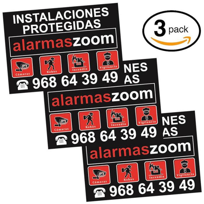 Pack 3 carteles rigidos A4 exterior Alarmas Zoom Instalaciones Protegidas