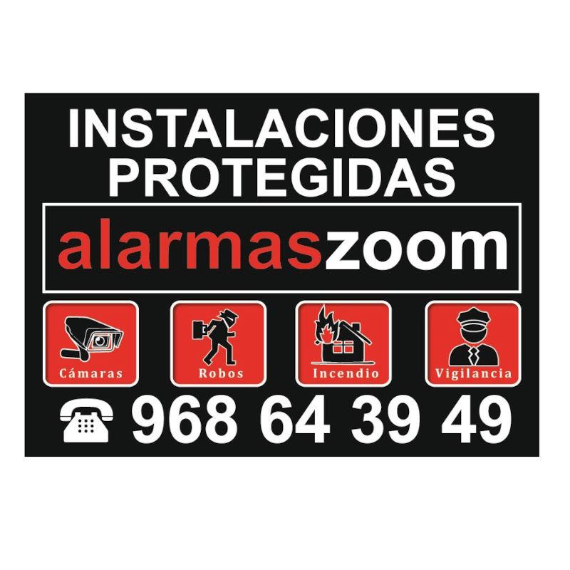 Cartel rigido A4 exterior Alarmas Zoom Instalaciones Protegidas
