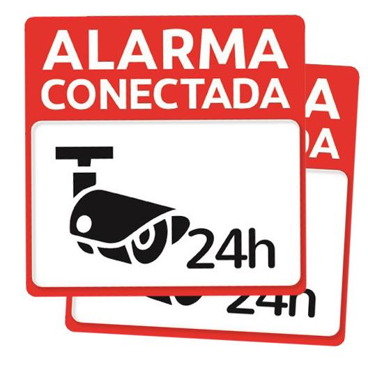Pack 2 Carteles rigidos PVC Alarma Conectada 24 horas