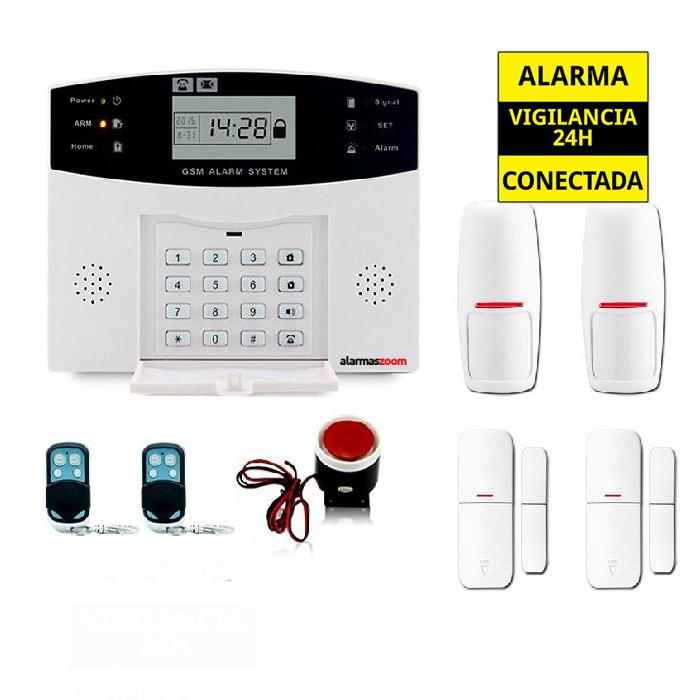 Kit Alarma Hogar AZ028 2 GSM Castellano Detectores movimiento Sensor apertura