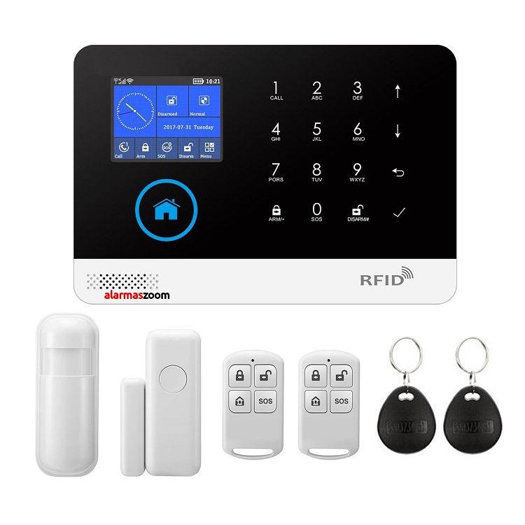Alarma para casas WiFi GSM compatible camara IP lector RFID Negra Sin Cuotas AZ034