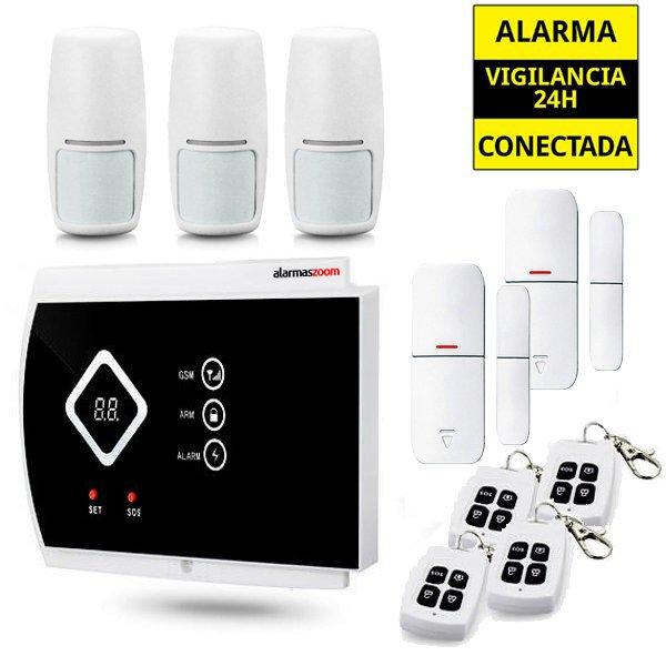 Kit Alarma Hogar AZ016 3 Detectores movimiento 2 Sensores apertura magneticos