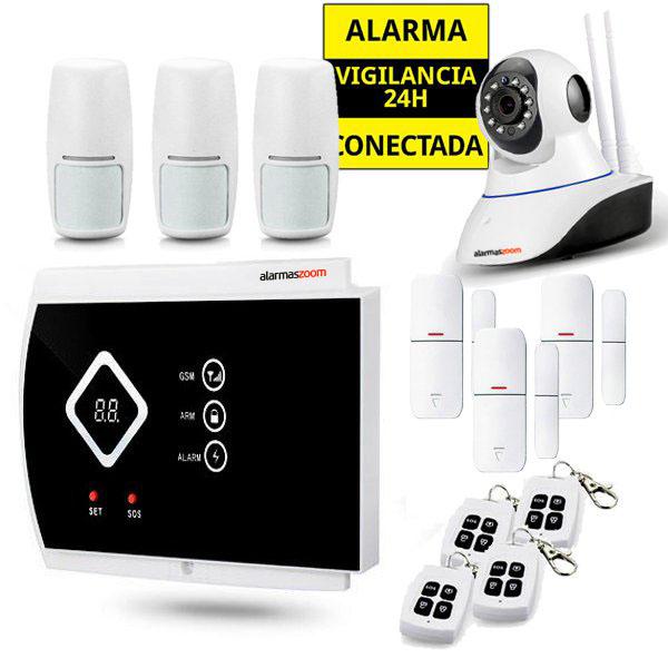 Kit Alarma Hogar AZ016 Camara interior 3 Detectores movimiento 4 Mandos remotos inalambricos