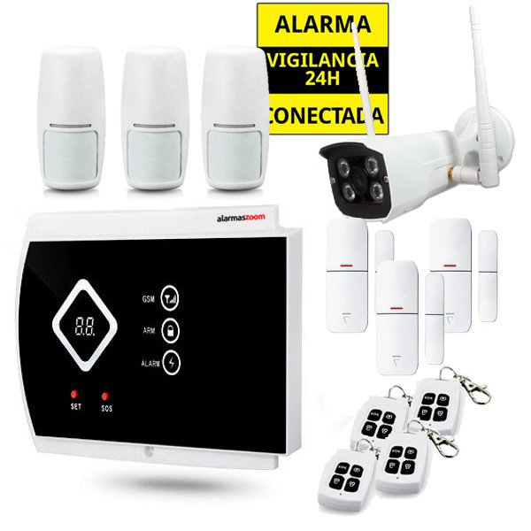 Kit Alarma Hogar AZ016 Camara exterior 3 Detectores movimiento 4 Mandos remotos inalambricos