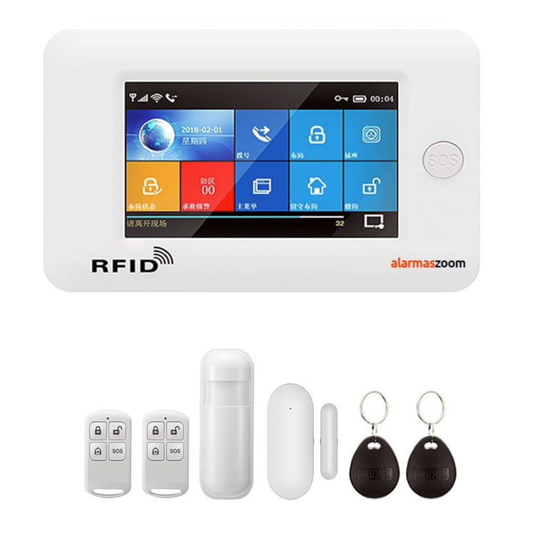 Alarma Hogar WiFi AZ031 GSM GPRS Pantalla Teclado Tactil Castellano RFID
