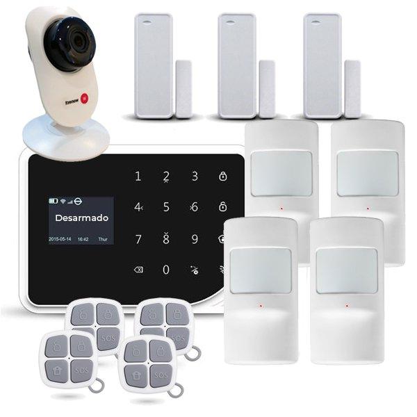 Alarma para casa WiFi AZ036 4 Sensores Movimiento PIR Camara IP