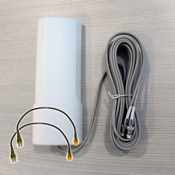 Antena 4G Theta W442 Dual Mimo 42dBi 2 Cables 5 Metros Conectores SMA