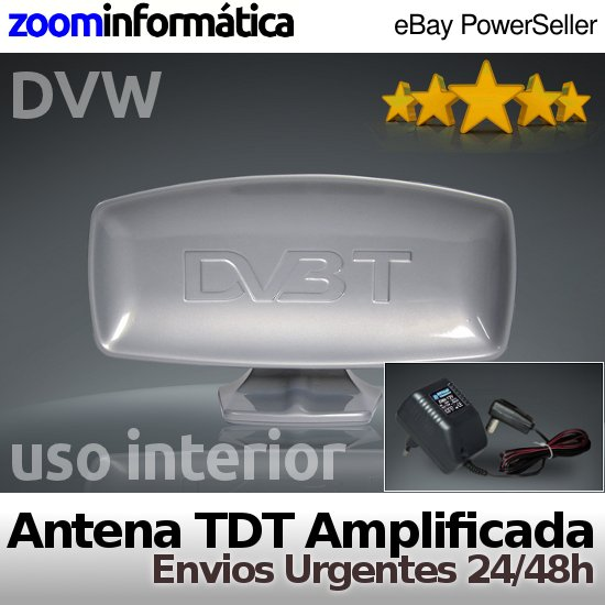 Antena TV TDT TV 80dBuV HD Amplificador Interior Television Reacondicionada
