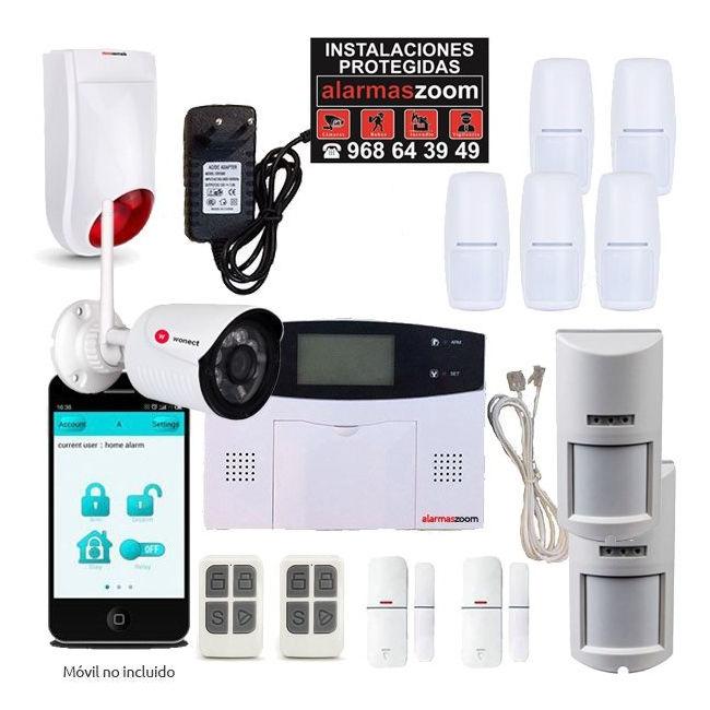 Alarma Hogar AZ023 GSM y RJ11 Sirena exterior Camara de seguridad 5 PIR