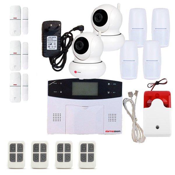 Alarma Hogar AZ023 GSM Linea telefonica 4 Detectores PIR 2 Camaras WiFi