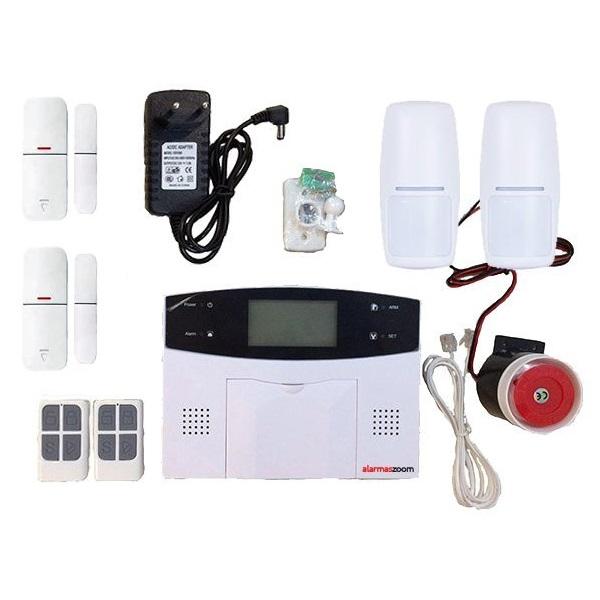 Alarma Hogar AZ023 GSM RJ11 2 Detectores Movimiento 2 Sensores apertura