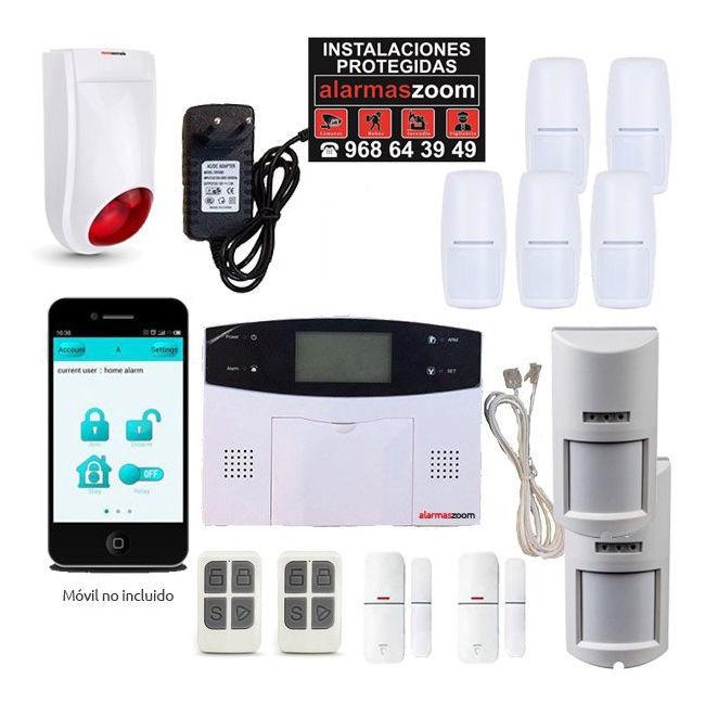 Alarma Hogar AZ023 GSM RJ11 Sirena exterior Detectores anti mascotas