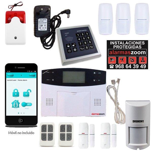 Alarma Hogar AZ023 GSM RJ11 Teclado control accesos Sirena cableada