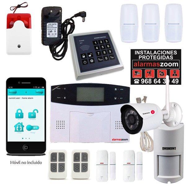 Alarma Hogar AZ023 GSM Teclado control accesos Camara vigilancia exterior