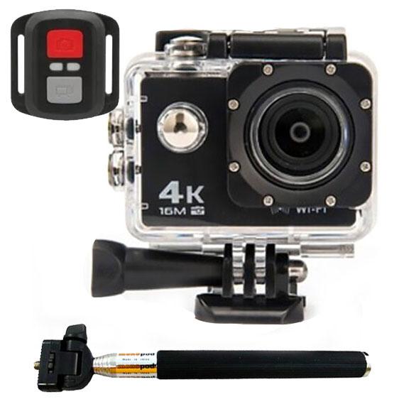 Camara deportiva 4K Sensor Sony WiFi 173 grados LCD 2 pulgadas Palo Selfie