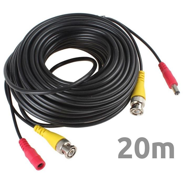 CV20 Cable 20 metros CCTV Coaxial BNC con alimentacion Camaras