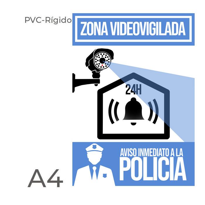 Cartel PVC rigido alarma disuasoria color azul