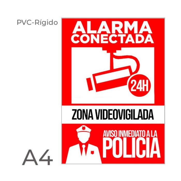 Cartel PVC rigido alarma disuasoria color rojo