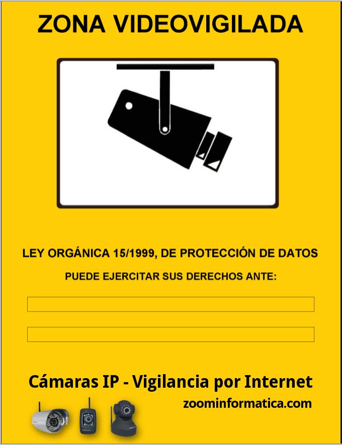 cartel A6 zona vigilada video vigilada de adhesivo camara camaras ip informativo LOPD: Amazon.es: Bricolaje y herramientas