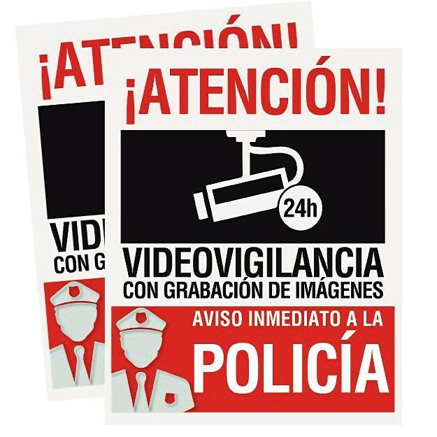 Pack 2 Carteles rigidos PVC Atencion Videovigilancia Grabacion Imagenes Aviso Policia