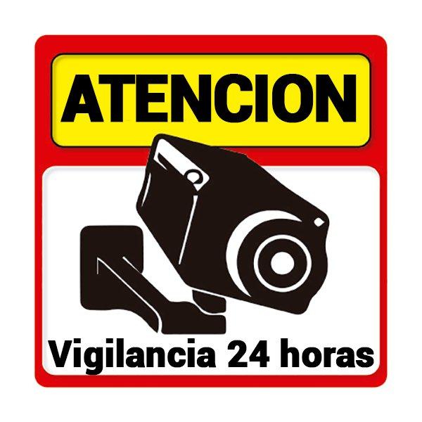 ALARMAS-ZOOM PEGATINA ATENCION VIGILANCIA 24 HORAS UNA PEGATINA ALARMA ATENCION VIGILANCIA 24 HORAS