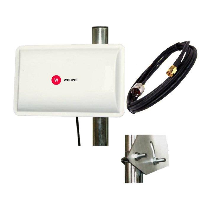 Antena WiFi Panel 14dBI Biquad Cortas distancias Pigtail RP SMA 1 Metro