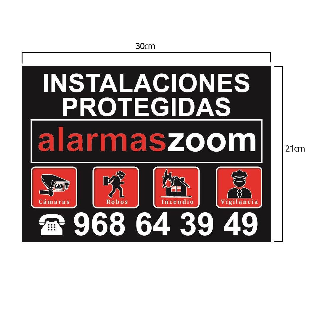 Alarmas-zoom Cartel rigido negro instalaciones protegidas