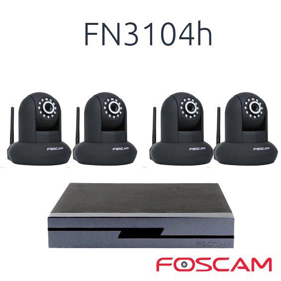 FOSCAM 4 FOSCAM FI9821P  CON 1 NVR FN3104H