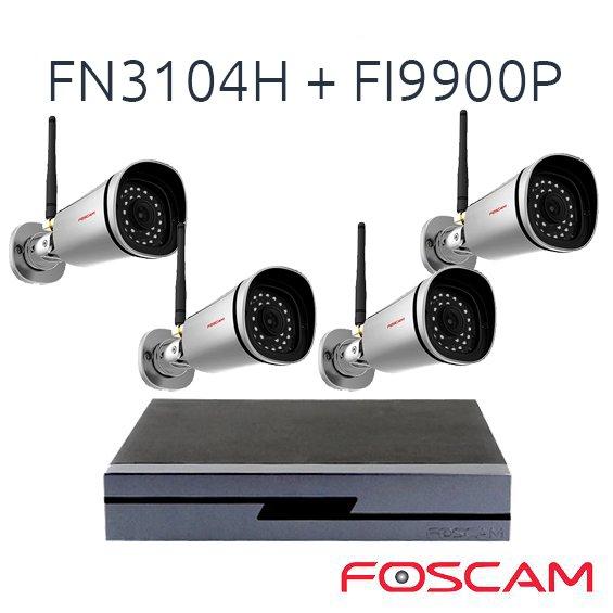 4 Camaras IP Foscam FI9900P con Grabador NVR FN3104H