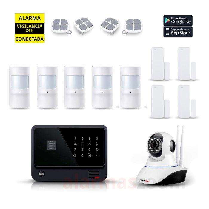 Kit Alarma Hogar AZ019 WiFi 4 Sensores apertura 5 Detectores movimiento 4 mandos Negro