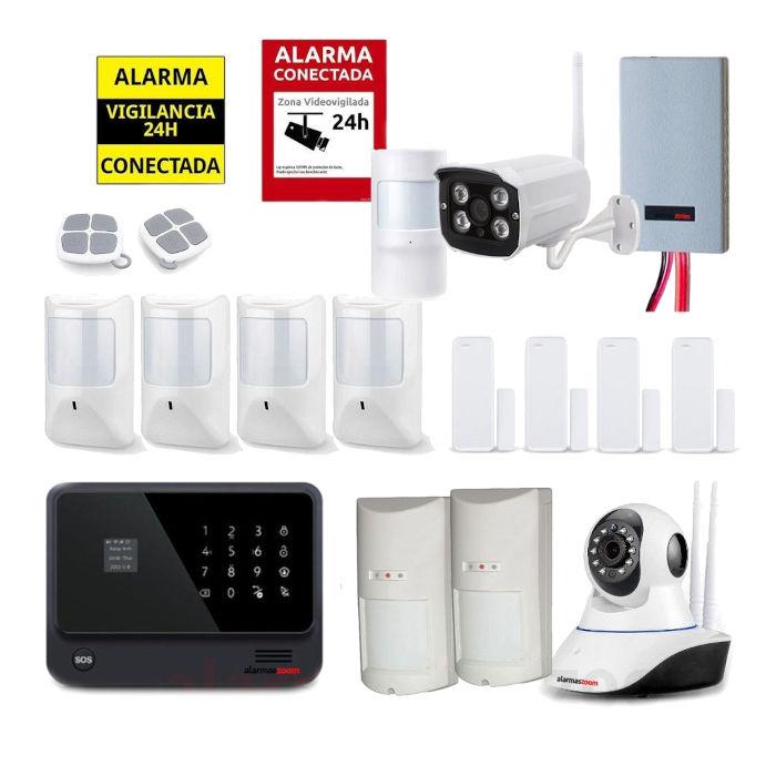 Kit seguridad alarmas casa Camara vigilancia exterior Detector inhibidores AZ019 34 Negro