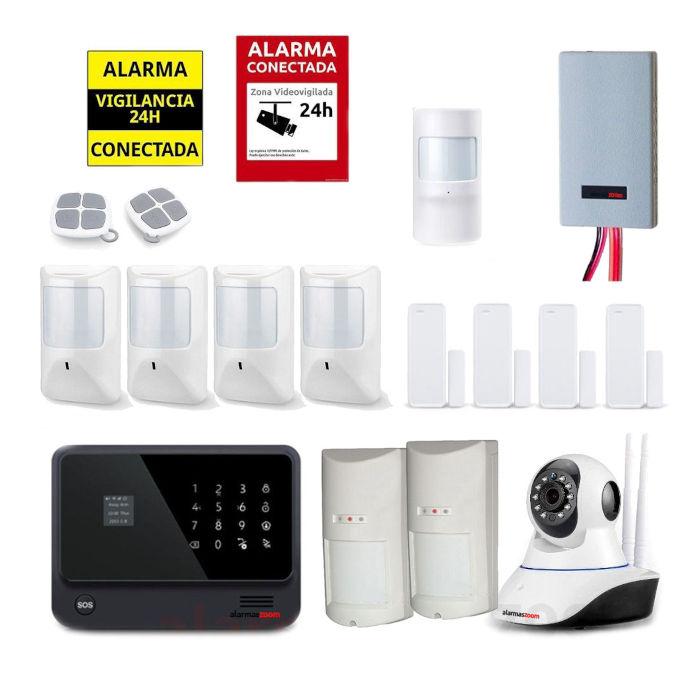 Kit seguridad alarmas casa Camara vigilancia Detector inhibidores AZ019 33 Negro