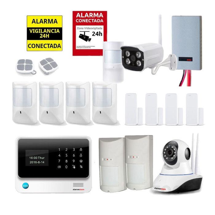 Kit seguridad alarmas casa Camara vigilancia exterior Detector inhibidores AZ019 34 Blanca