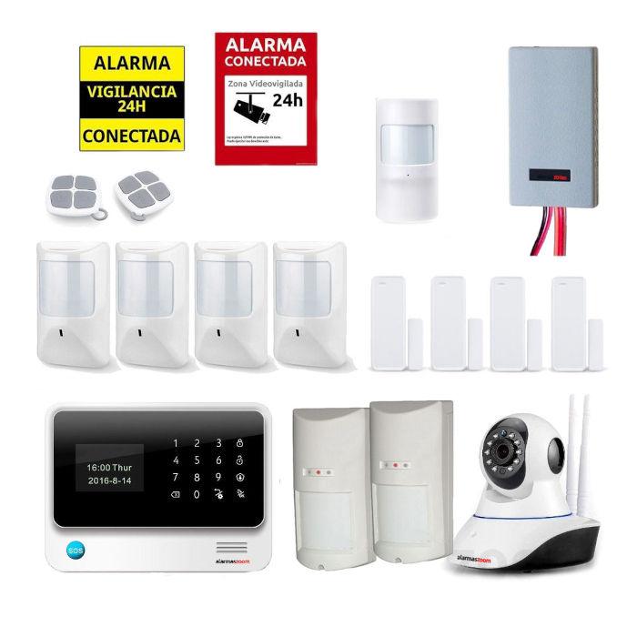 Kit seguridad alarmas casa Camara vigilancia Detector inhibidores AZ019 33 Blanca