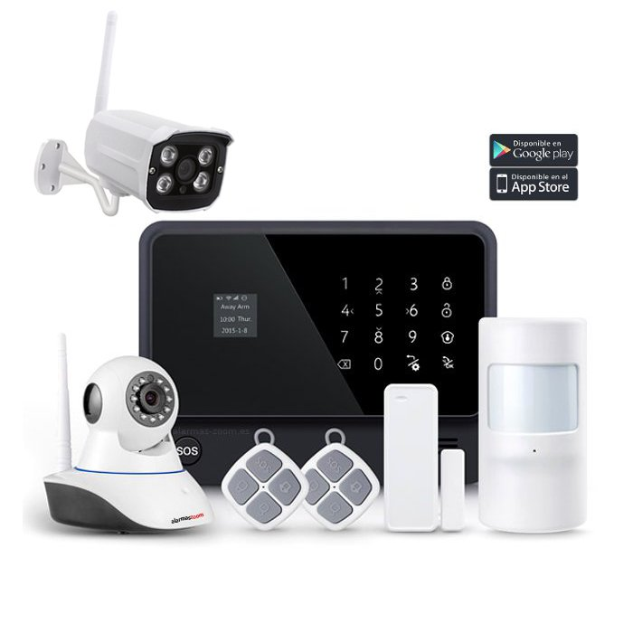 Kit Alarma Hogar AZ019 WiFi B1 Camara vigilancia Exterior Sensor puertas Detector movimiento
