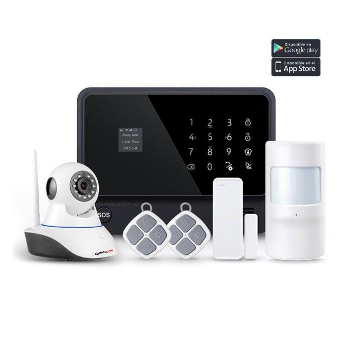 alarmas-zoom AZ019 G90B PLUS B 1 KIT 1 ALARMA WiFi G90B Plus con camara  de vigilancia interior