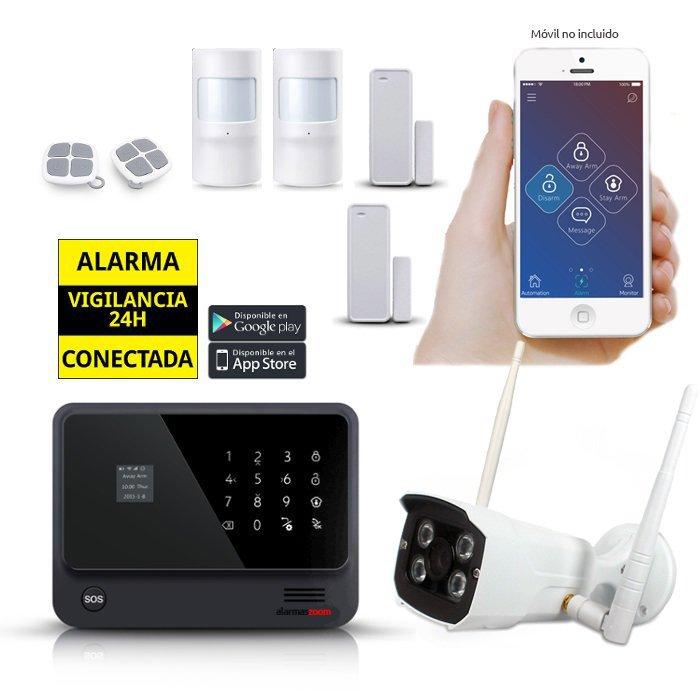 Kit Alarma Hogar WiFi AZ019 Negra Camara exterior 2 Detectores movimiento