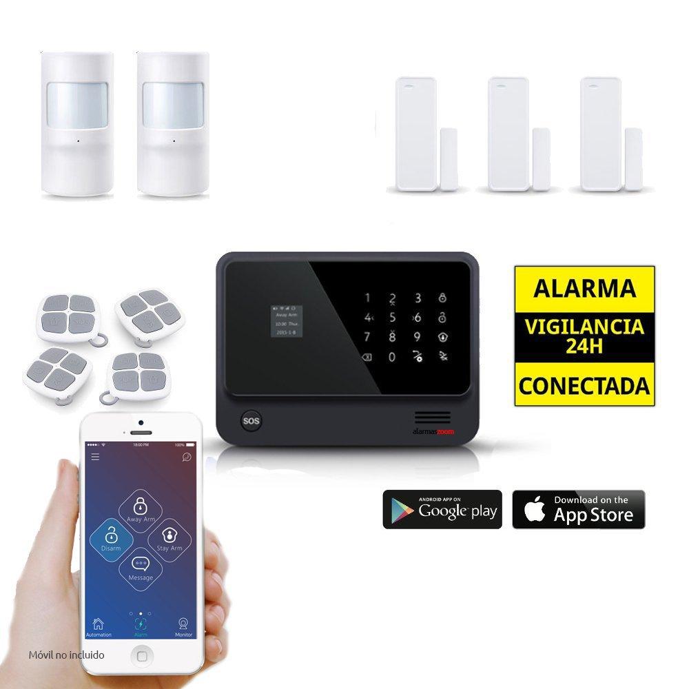 Kit Alarma Hogar WiFi AZ019 Negra 4 Mandos 3 Puertas 2 Movimiento