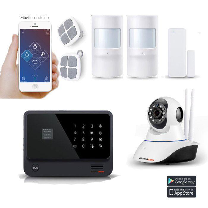 Kit Alarma Hogar WiFi AZ019 Negra Camara 2 Detectores movimiento