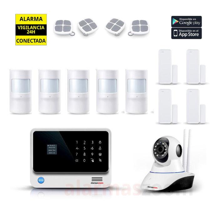Kit Alarma Hogar AZ019 WiFi 4 Sensores apertura 5 Detectores movimiento 4 mandos Blanca