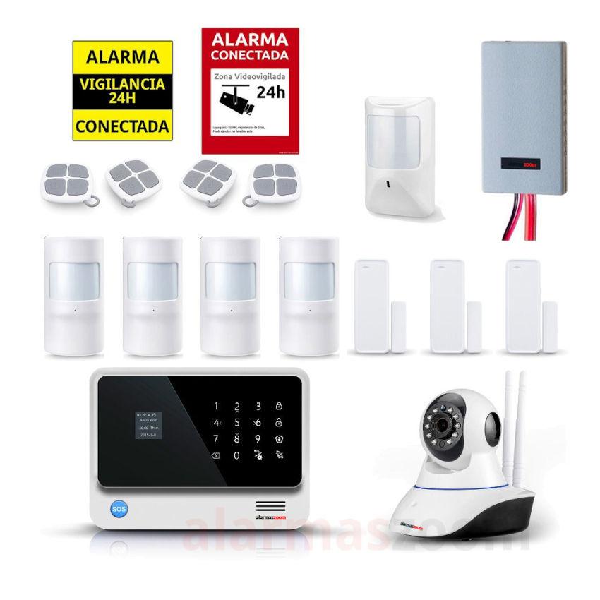 Kit seguridad alarmas casa Camara vigilancia Detector inhibidores AZ019 32 B