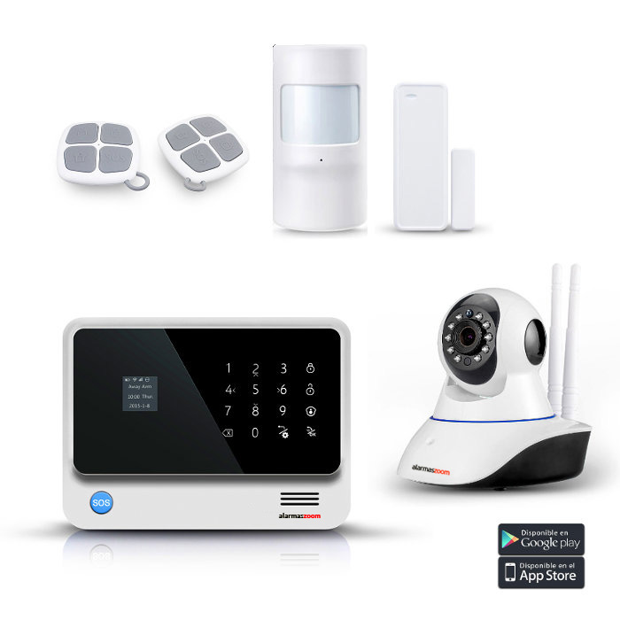 alarmas-zoom AZ019 G90B PLUS W 1 KIT 1 ALARMA WiFi G90B Plus blanca con camara IP interior