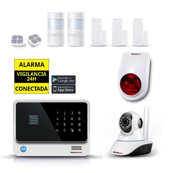 alarmas-zoom AZ019 G90B PLUS W 2 KIT 2 ALARMA WiFi G90B Plus blanca con sirena exterior y sensores de puertas y movimiento adicionales