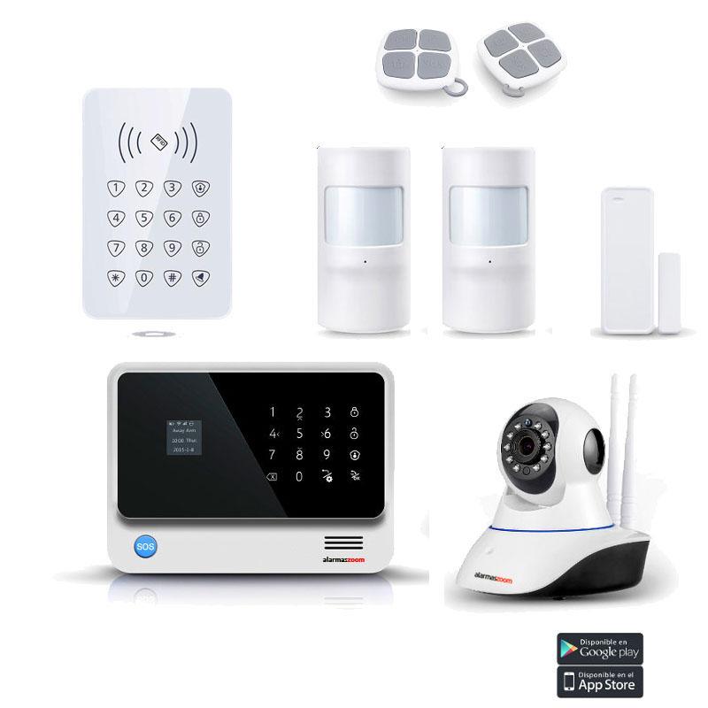 Kit Alarma Hogar WiFi AZ019 Blanca Camara IP Interior Teclado Control Acceso