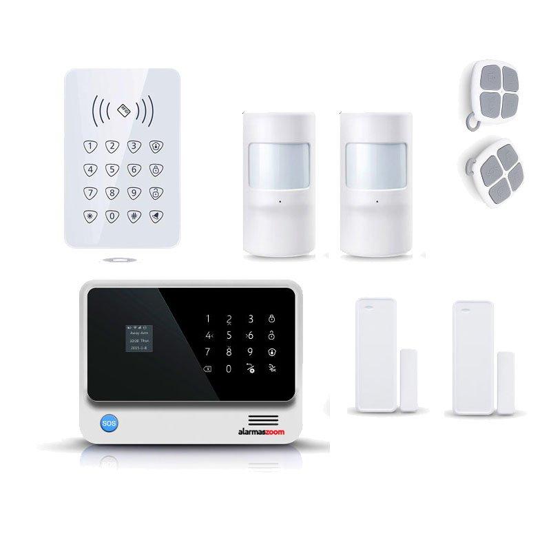 alarmas-zoom AZ019 G90B PLUS 11 B KIT 11 ALARMA WiFi G90B Plus con teclado control acceso y 2 sensores de movimiento y puertas